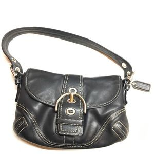 COACH BLACK Leather SoHo Flap Purse hobo Handbag
